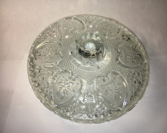 "Vintage Candy Dish, Clear KIG, Malaysia Bowl, 7"" Pressed Glass, Sandwich EAPG, Fleur De Lis, Collectible Glassware, Home Decor"
