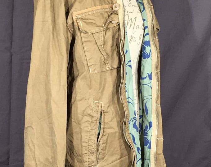 Vintage Men's Field Jacket, Khaki Gold Brown Coat, Large Button Down Zipper Outback Coat, Machine Clothing Company, 100% Cotton