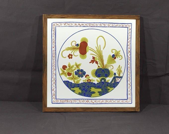 Vintage Trivet, Semigres Framed Pot Holder, Decorative Square Potholder, Blue & White Countertop Decor, Collectible Kitchen Art