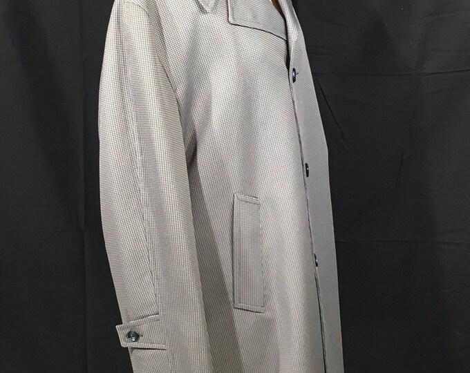 Vintage Houndstooth Coat, Best Coat Company, Men's Sz 44 All Weather Long Coat, 100% Wool Trench Coat, Winter Coat w/Liner, Gray Black Coat