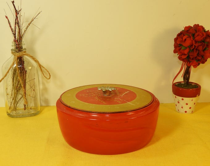"Vintage Round Glass Trinket Dish w/ Lid, Red and Gold Trim Trinket Jewelry Bowl, Round Glass Catchall Dish. 5.75"" Trinket Vanity Bowl Dish"