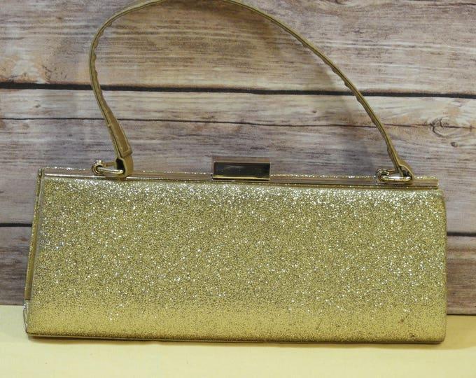 Vintage SASHA Gold Evening Handbag, Evening Glitter Clutch, Retro Shoulder Bag, Formal Purse, Small Ladies Hand Bag