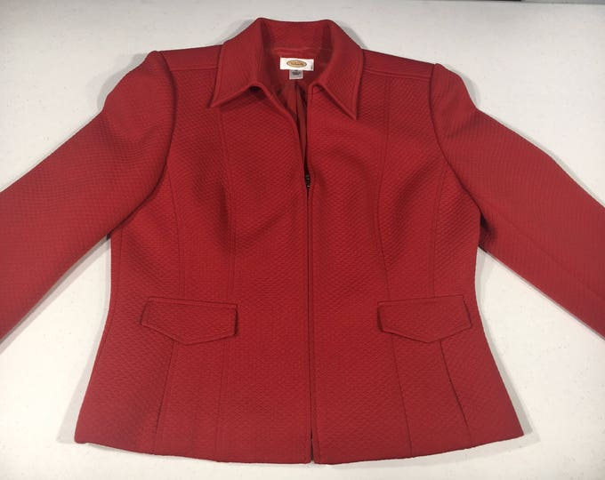 Vintage Talbot Red Blazer, Quilted Style Coat, Size 10 Women's Evening Blazer, 100% Polyester Shell & Lining Coat, Made in Korea