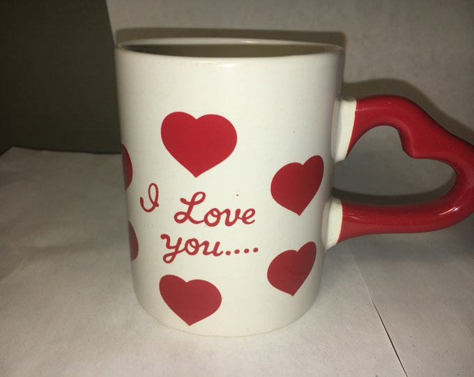 "Sweetheart Valentine Red White Heart Handle Mug ""I Love You"" w/ Red Hearts"