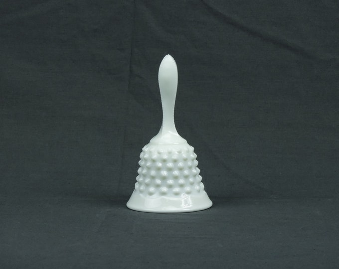 Vintage White Handbell, Fenton Hobnail, Milk Glass, Saw Tooth Handle, Home Decor, Collectible Hand Bell, Statue Decoration, No Tongue