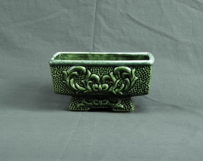 Vintage Green Planter, American Bisque, Dimpled Sides, Wedge Foot, Rectangular Shape, Drop Glaze, Home Decor, Entryway Decoration, Succulent