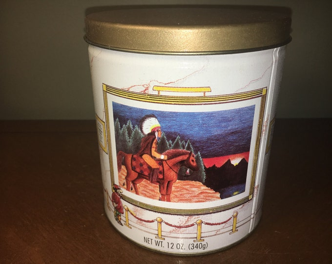 "Vintage Wild West Tin, Advertising Tin,White Gold Trail's End Gourmet Popcorn 1994-95 Art Contest Edition w/3 Scenes 5.75"" tall 5.25"" across"