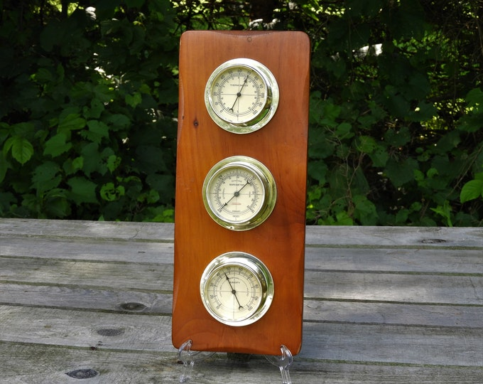 Vintage Weather Station, Sunbeam Thermometer, Precision Instrument, Wooden Wall Hanging, Home Decor, Barometer, Humidity, Brown & Silver