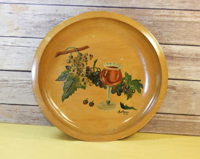 Vintage 1949 Wine Plate, Country Collectible, Rare H Bauer, Oil Painting, Carved Wood, Authentic Art, Decorative Goblet Purple