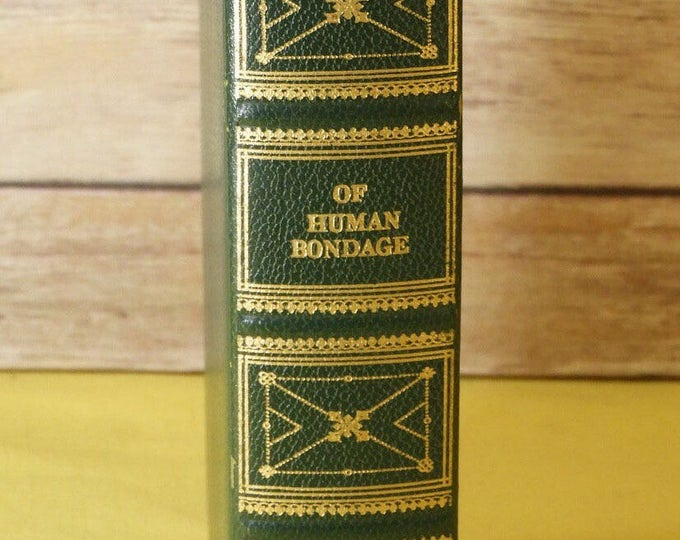 """Vintage Book """"Of Human Bondage"""" by W. Somerset Maugham, Green & Gold Collectors 1936 International Collectors Library, Doubleday and Co."""