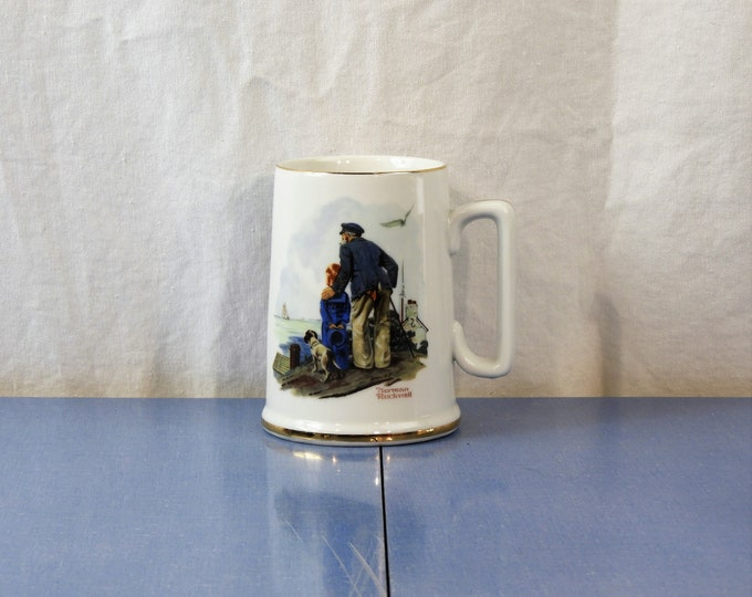 Vintage Norman Rockwell Stein, Looking Out To Sea, White 1985 Coffee Cup, Porcelain Mug, Grandfather Gift, Nautical Decor, Art Collectible