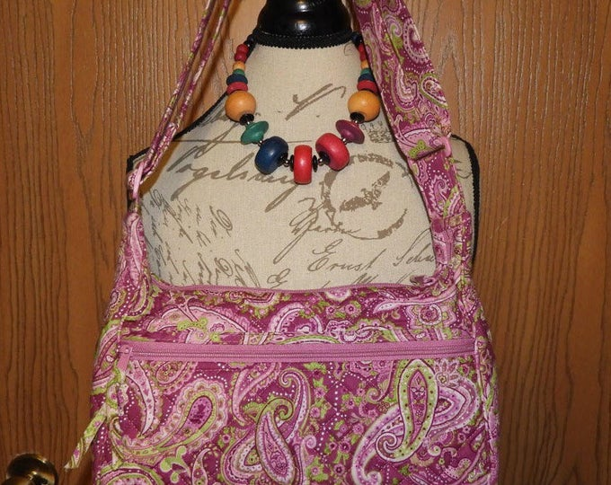 Vintage Stephanie Dawn Pink Cranberry Shoulder Hand Bag, Paisley Stephanie Dawn Shoulder Bag, Pink Green Paisley, 100% Cotton, Made in USA