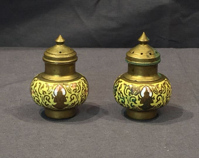 Vintage Salt & Pepper Shakers, Yellow and Gold Decorative Shakers, Collectible Brass, Dinnerware Service, Pointy Top