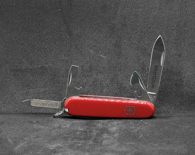 Vintage Victorinox Knife, Rare Martin Logo, Red Swiss Army Spartan, Stainless Rostfrei, Cork Screw, Multi Tool, Wedding Gift, Switzerland