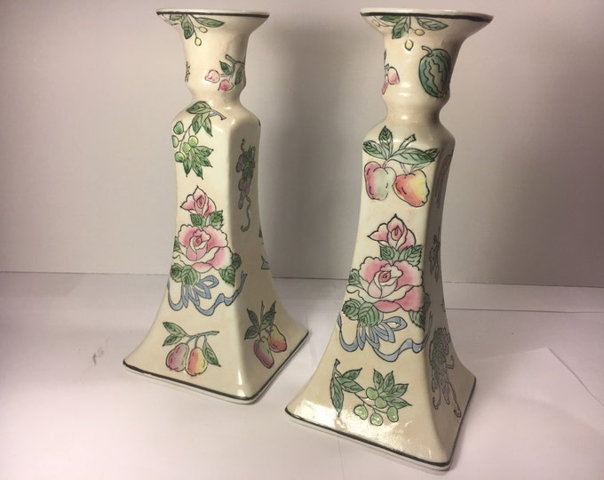 "Vintage Rare Chinese Candlesticks,Chinese Famille Pink Rose Candleholders,Porcelain Fruit Embossed Handpainted Candlestick 8.5"" Made n China"