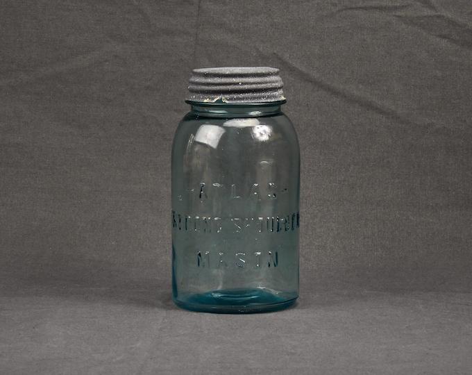 Antique Atlas Jar, Strong Shoulder, Quart Glass Mason, Aqua Blue, Pre 1915, Gray Zinc, Porcelain Lid, Smooth Rim, Home Decor, Collectible