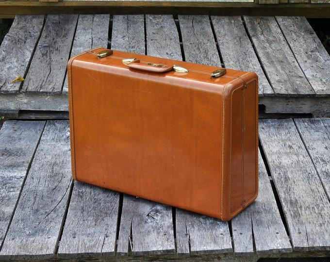 Vintage Samsonite Suitcase, Streamlite Luggage, Colorado Brown, Hard Case, Home Decor, Faux Leather, Shwayder Bros