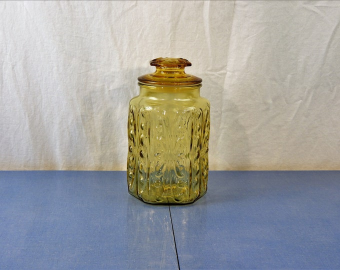 Vintage Atterbury Canister, Large Cookie Jar, 2 Quart Amber Gold, Imperial Glass, Decorative Relief, Kitchen Decor, Apothecary Storage