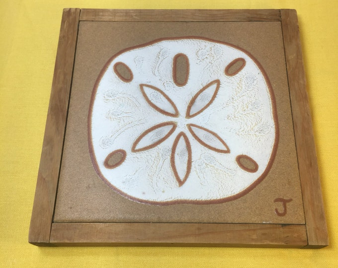 Vintage Nautical Ceramic Pot Holder, J Tallman Trivet, Brown & White Wood Nautical Tile, Sand Dollar Decoration, Designs in Glaze 7""