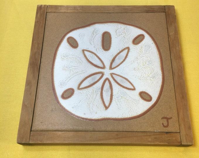 "Vintage Nautical Ceramic Pot Holder, J Tallman Trivet, Brown & White Wood Nautical Tile, Sand Dollar Decoration, Designs in Glaze 7"""