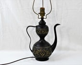 Antique Dragon Lamp, Brass Tea Pot Light, Carved Metal Relief, Scroll Pi Yao, Entryway Decor, Chinoiserie Decoration, Old Lighting