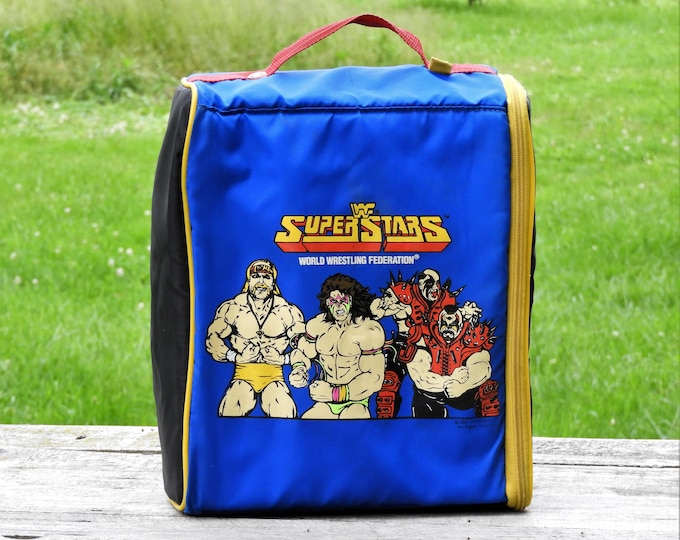 Vintage WWF Backpack, Legion of Doom, 1991 Tran Sports, Action Figure Organizer, Wiz Too, Blue Toy Holder, Rare Wrestling Collectible