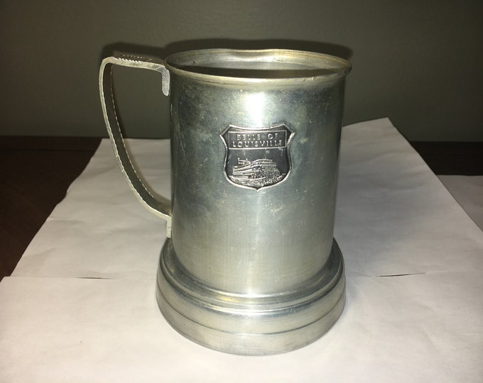 Vintage Belle of Louisville Mug, Clear Glass Bottom Mug Cup, Silver Retro Mug, Coffee Water Drinkware, Collectible Louisville Ky Souvenir