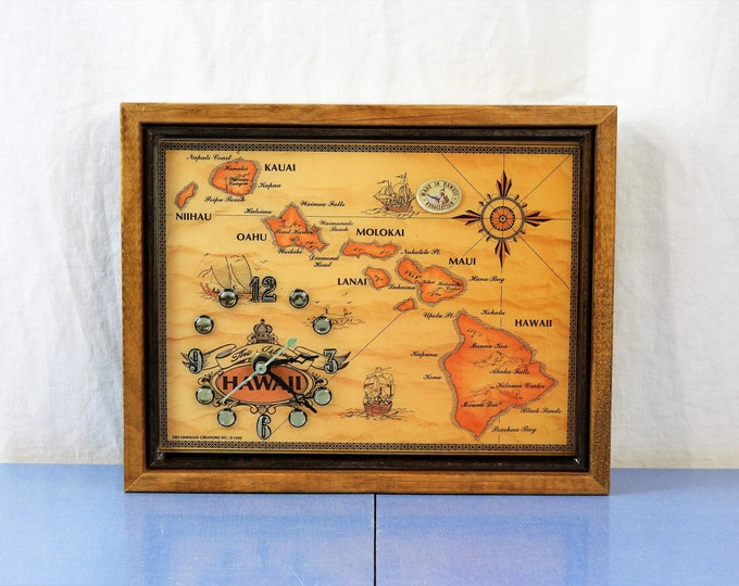 Vintage Hawaii Map Clock, Wooden Frame, Maui Kauai Molokai, Battery Operated, Wall Hanging, Nautical Decor, Brown & Gold, Hawaiian Vacation