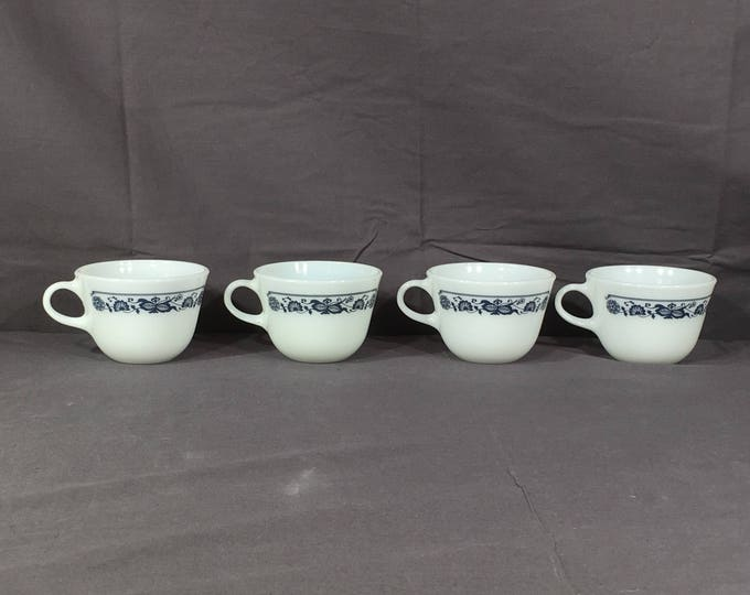 Vintage Blue Onion Cups (4), Pyrex Old Town Teacups, Blue & White Coffee Mugs, Decorative Dinnerware Cups, White Milk Glass Collectibles