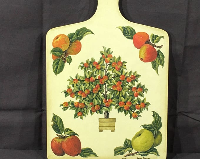Vintage Serving Tray, WL 94 Jenny Barron Apple Decoration, Wood Kitchen Pot Holder, Red & Green Wall Hanging Decor, Decorative Kitchen Art
