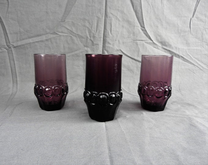 Vintage Tiffin Tumblers (3), Franciscan Madeira, Crystal Plum Decor, 12 oz Water Glasses, Amethyst Purple, Heavy Bottom, Cut Faceted Glass