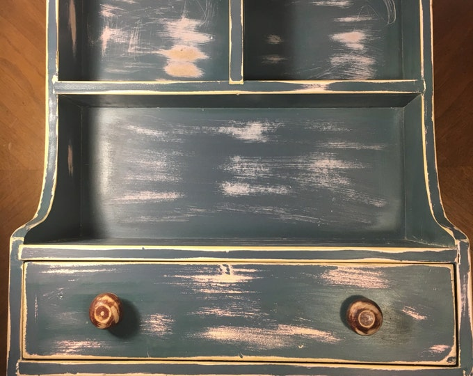 "Vintage Distressed Shelf, Retro Blue Country Shelf, Charging Station, Organizer Cabinet, Figurine Kitchen Storage 17 5/8"" tall and 13"" wide"