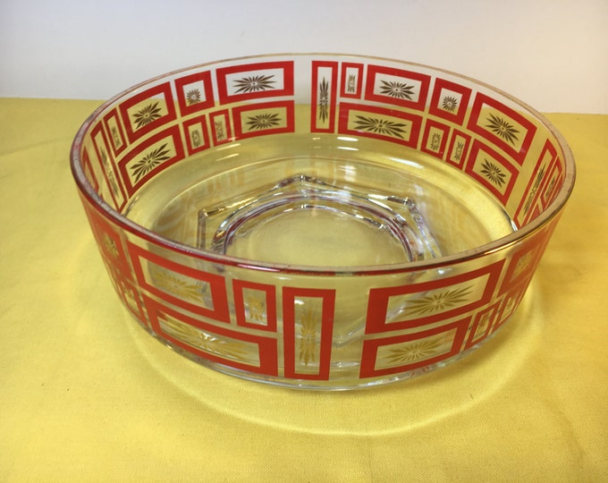 Vintage Heavy Crystal Serving Bowl Dish, Red Glass Crystal Bowl Red Rectangles and Gold Stars, Six Sided Base Bowl, Retro Crystal 8.75""