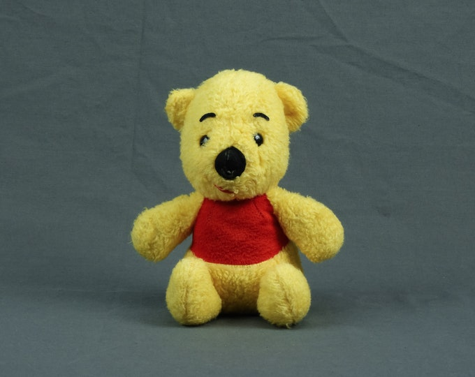 Vintage Teddy Bear, Winnie the Pooh, Sears Toy, Walt Disney, Yellow & Red, Childrens Decor, Childs Gift, Nursery Decoration