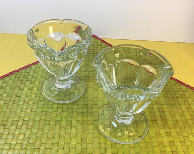 "Vintage Glass Tulip Sundae Dishes (2) Ice Cream Parfait, Clear Pedestal Glass Parfait Dish Cup, Sundae Dish, Wavy Rim Parfait Dishes 4 1/8"""