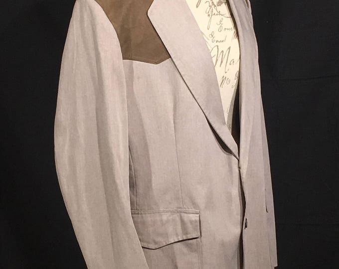 Vintage Western Sports Coat, Mens 42L Blazer, Pen West Pendleton Coat, Brown Suede & Gold Jacket, Country Western Wear