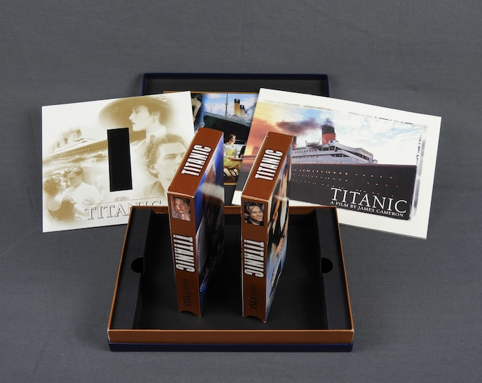 Vintage Titanic Movie, Collectors Edition, Gift Set, Blue & Gold, Two VHS Tapes, Film Strip, Color Booklet, James Cameron, Home Decor, 1998