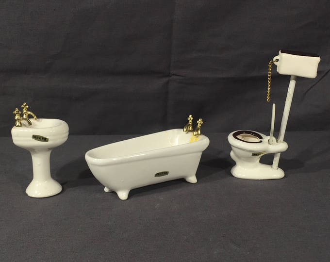 Vintage Miniature Furniture, Sears Roebuck Toilet Tub Sink, Decorative White Dollhouse Porcelain, Playhouse Bathroom Pieces, Mini Furniture