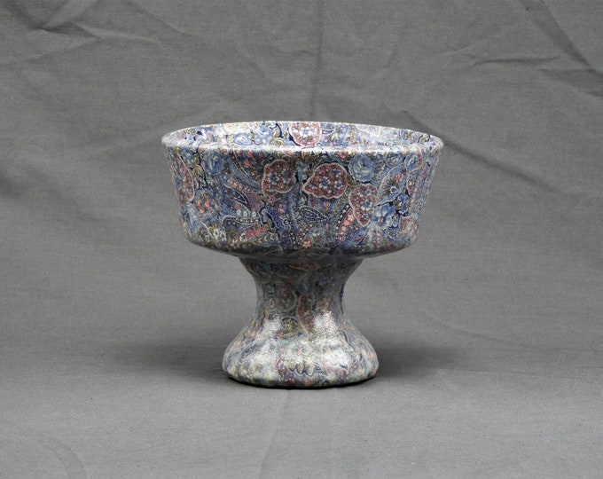 Vintage Paisley Candleholder, Blue & Pink Decoupage, Candle Holder, Entryway Decor, Incense Holder, Fragrance Bowl, Bathroom Decor