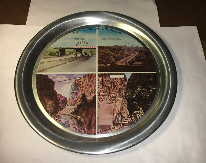 Vintage Royal Gorge Souvenir, Colorado World's Highest Suspension Bridge Platter, Silver Serving Plate, Collectible Country Western