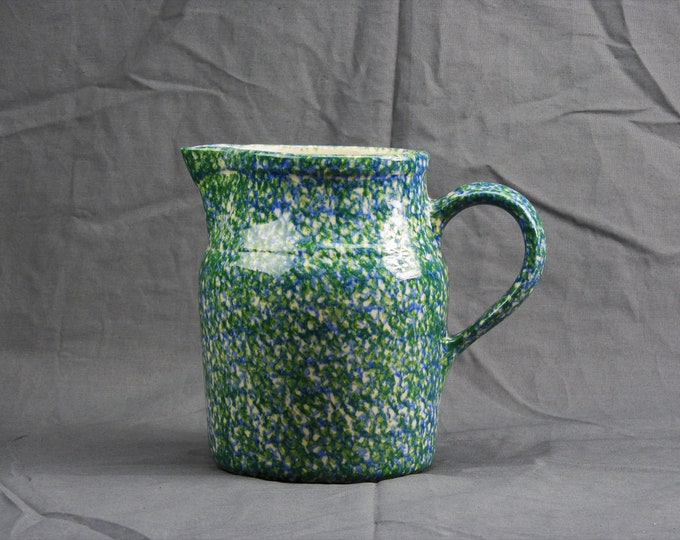 Vintage Pottery Pitcher, Roseville Spongeware, Entryway Centerpiece, Gerald Henn Pottery, Green & Blue Stoneware, Ceramic Kitchen Decor