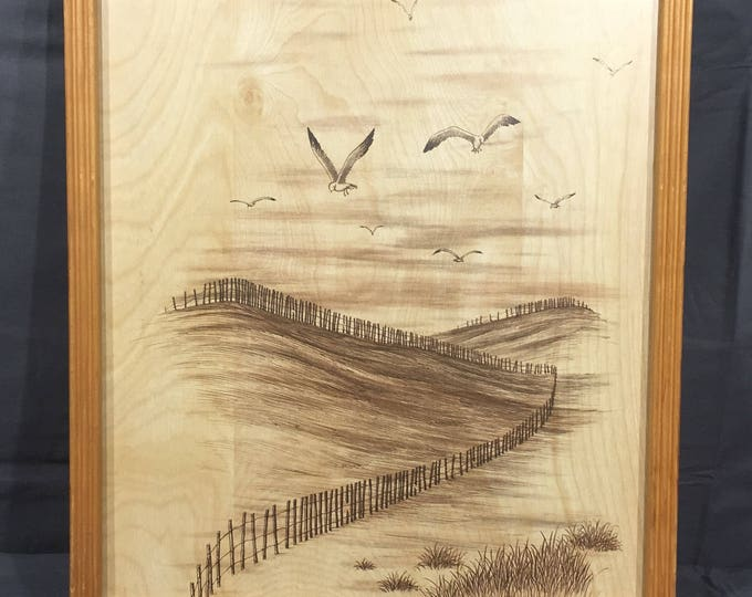 Vintage Wood Picture, Bird Over Meadow Wall Art, Decorative Gold Black Picture, Burnt Wood Look Wall Hanging, Man Cave Art, Rare Collectible