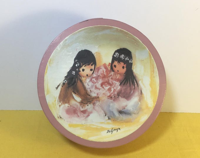 Vintage Pink Box, Degrazia Bowl, Wooden Vanity Dish, Native Children, Jewelry Ring Dish, Round Jewel Storage, Home Decor