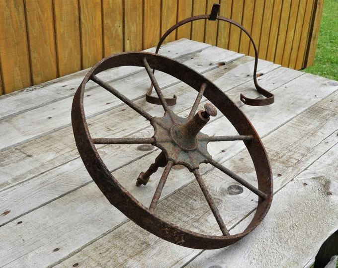 Antique Iron Wheel, Wheelbarrow Hardware, Rusty Red & Brown Garden Decor, Primitive Farm Decorations, Patio Wall Art
