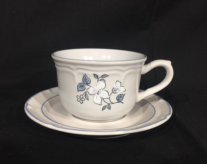 Vintage Tea Cup & Saucer, Covington Edition, Avondale Stoneware, Blue Floral Drinkware, Decorative Coffee Mug, Ceramic Tea Set