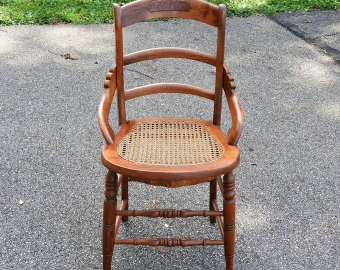 Antique Wooden Chair, Burl Wood Inset, Woven Cane, Mahogany Look, Ladder Back, Spindle Legs Brown, Mortise & Tenon, Brown Accent Furniture