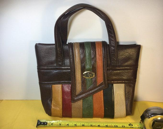 Vintage Retro Purse, Swafford Original Purse, Brown Retro Colors Purse Handbag, Leather Purse Handbag, Metal Fastener Collectors Purse