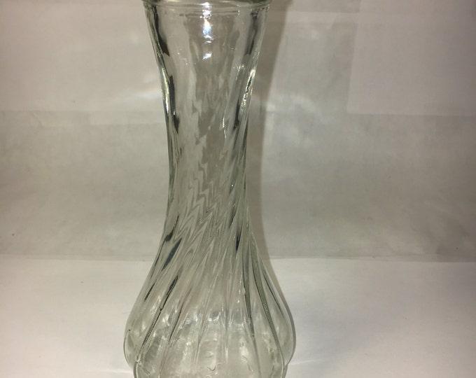 """Vintage Hoosier Glass Swirl Around Bud Vase 6"""" 4064"""