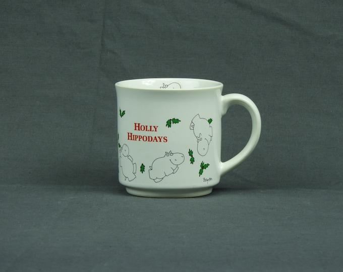 Vintage Boynton Mug, Coffee Cup, Holly Hippodays, Ceramic Collectible, White Stoneware, Kitchen Decor, Home Decoration, Drinkware Gift