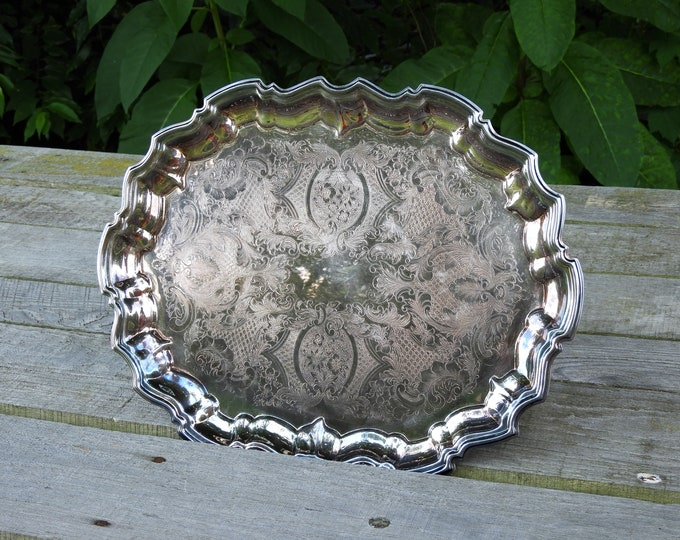Vintage Sheffield Platter, Silver Plated, Serving Tray, Made in USA, Etched Floral Lattice, Fluted Rim, Oval Shape, Dining Room